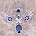 Black Created Sapphire White CZ Silver Jewelry Sets Earrings Pendant Ring For Women Size 6 / 7 / 8 / 9 / 10 / 11 / 12 S0038