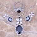 Black Safira Criado Branco CZ Jóias de Prata Conjuntos Brincos Pingente Anel Para Mulheres Tamanho 6/7/8/9/10/11/12 S0038