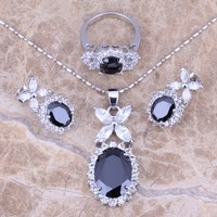 Hot Sell Black Sapphire Topaz Silver Jewelry Sets Earrings Pendant Ring For Women Size 5 6