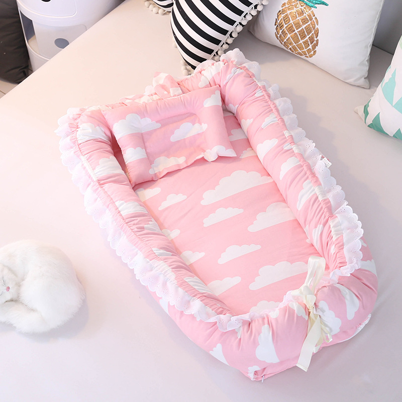 90X55cm Portable Baby Crib Infant Cradle Cot Newborn Nursery Travel Folding Baby Nest With Pillow Bumper Baby Bed Dropshipping