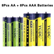 YCDC 16PCS/LOT NEW Version Rechargeable Batteries Cells Wholesale 1.2V High Volume AA-2000mAh AAA-1000mAh With Battery Case