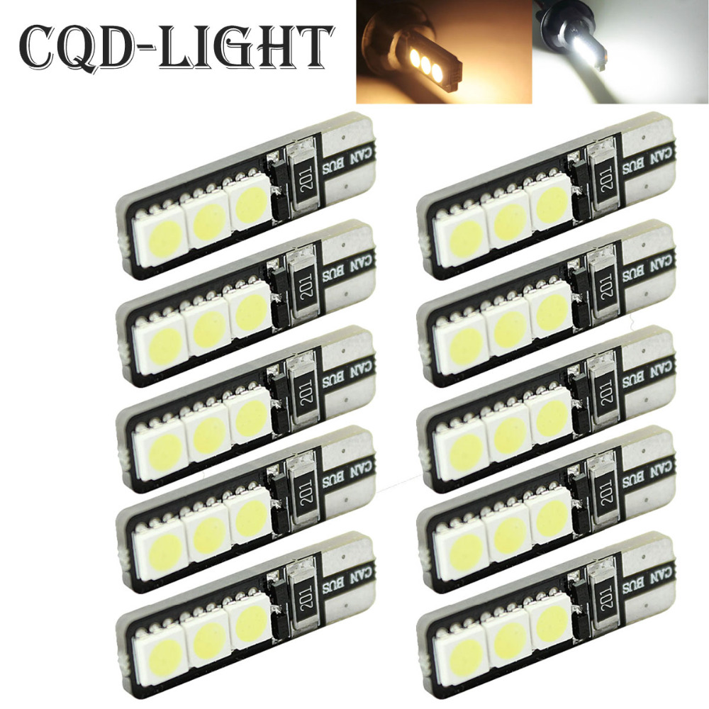 CQD-Light 10pcs Bright Double No Error T10 LED 194 168 W5W Canbus 6 SMD 5050 LED Car Interior Bulbs Light Parking Width Lamp 4pcs super bright t10 w5w 194 168 2825 6 smd 3030 white led canbus error free bulbs for car license plate lights white 12v