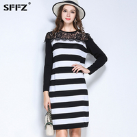 SFFZ Fashion Women Sweater Dress Black White Striped Pullovers For Female Casual Lace Floral O Neck