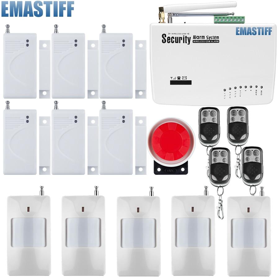 Wireless Wired GSM Home Security Burglar Alarm System +Infrared Sensor+Door/window Sensor+Remote Control Free Shipping