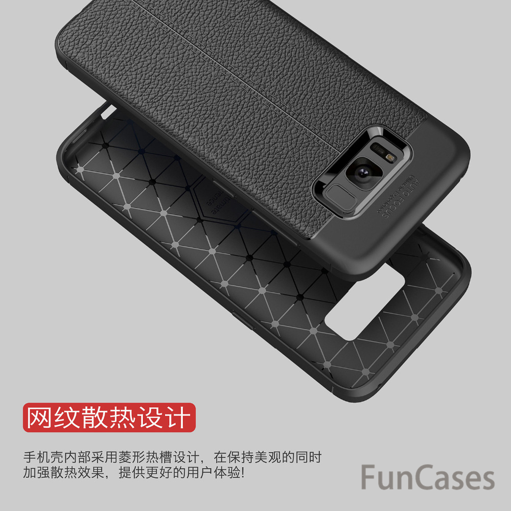 For Samsung S8 Carbon fiber Luxury TPU soft Leather case Cover Silicone soft Cover fundas For Samsung S8 phone back shell case