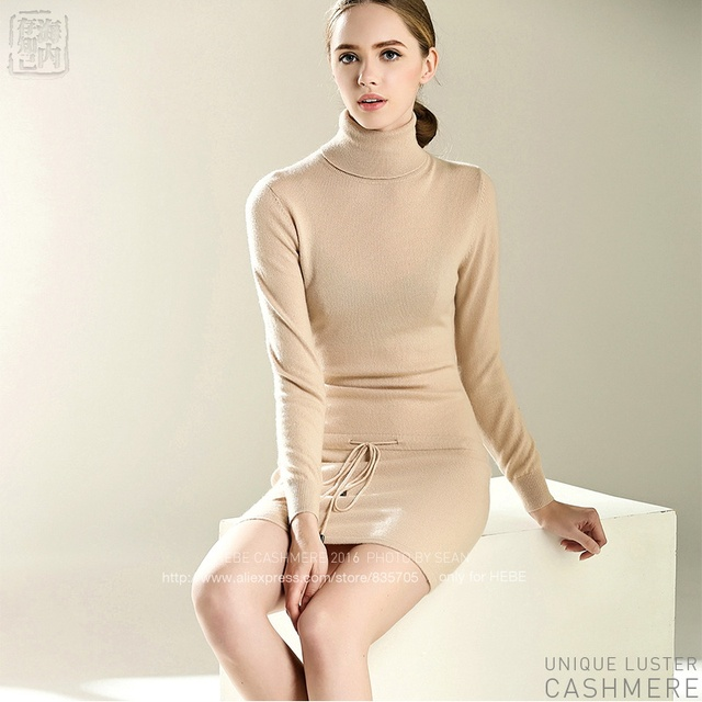 Lastest Style HEBE Knitted Long Pullovers Women Turtleneck Waist Drawstring Knit  Dress Women Cashmere Long Sweater Hot Sale 8b72a4f51d61