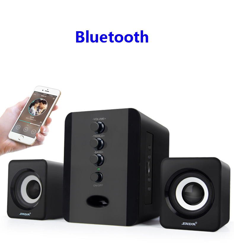 SADA D-226 Bluetooth Speaker Wireless 2.1 3 Channel Bass Combination PC\MP3\Cellphone Speakers Support FM TF USB 3.5MM AUX