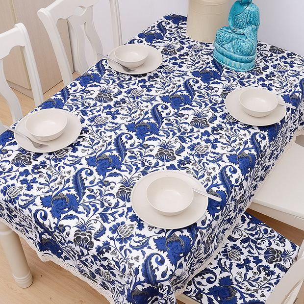 Blue and white cotton table cloth chinese style flower for White cotton table cloth
