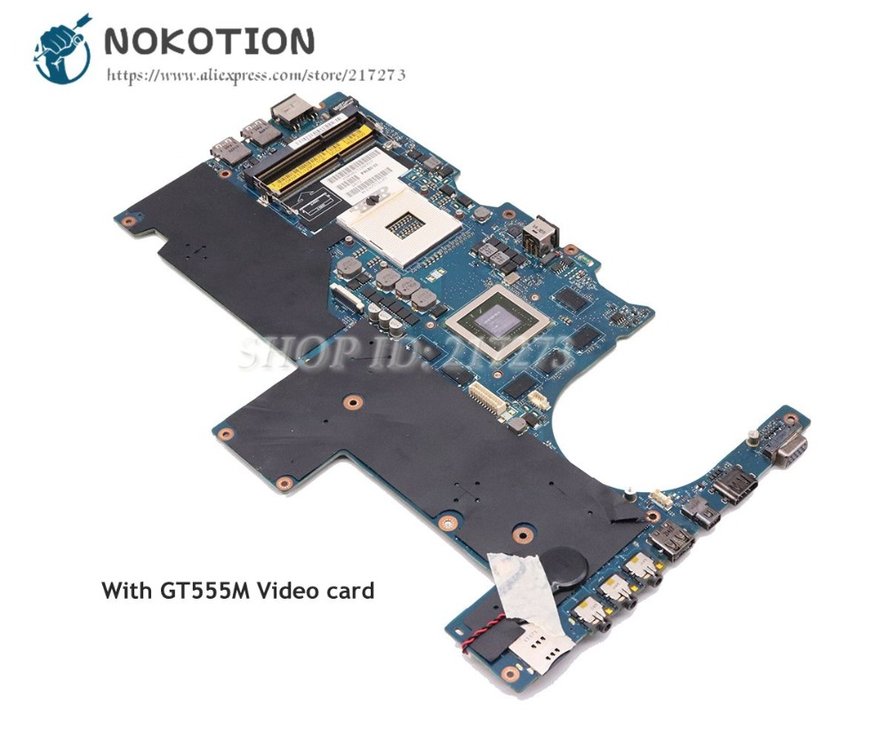 NOKOTION For Dell Alien-ware M14X R1 Laptop Motherboard GT555M GPU PALB0 LA-6801P CN-0KNF1T 0KNF1T Main Board laptop motherboard mainboard for dell alienware m14x r1 la 6801p xycjj 0xycjj cn 0xycjj for intel cpu with graphics card
