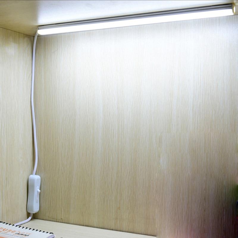 >LED Under Cabinet Kitchen Closet Light Lamp 220v 5v USB Cable LED Strip Bar Lamp Mirror Study <font><b>Desk</b></font> Lights desktop Wall Lighting