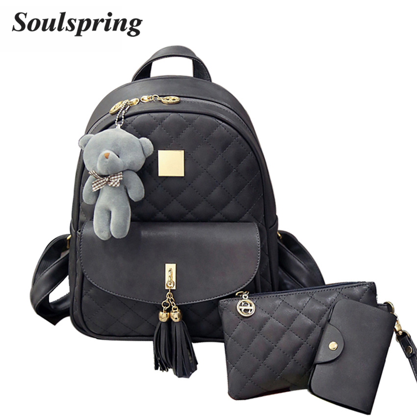 New Plaid 3Pcs/Set Backpack Women School Bags For Teenage Girls Cute Fashion Tassel Backpacks Hot Sac A Dos Purse And Bear 2017 children school bag minecraft cartoon backpack pupils printing school bags hot game backpacks for boys and girls mochila escolar