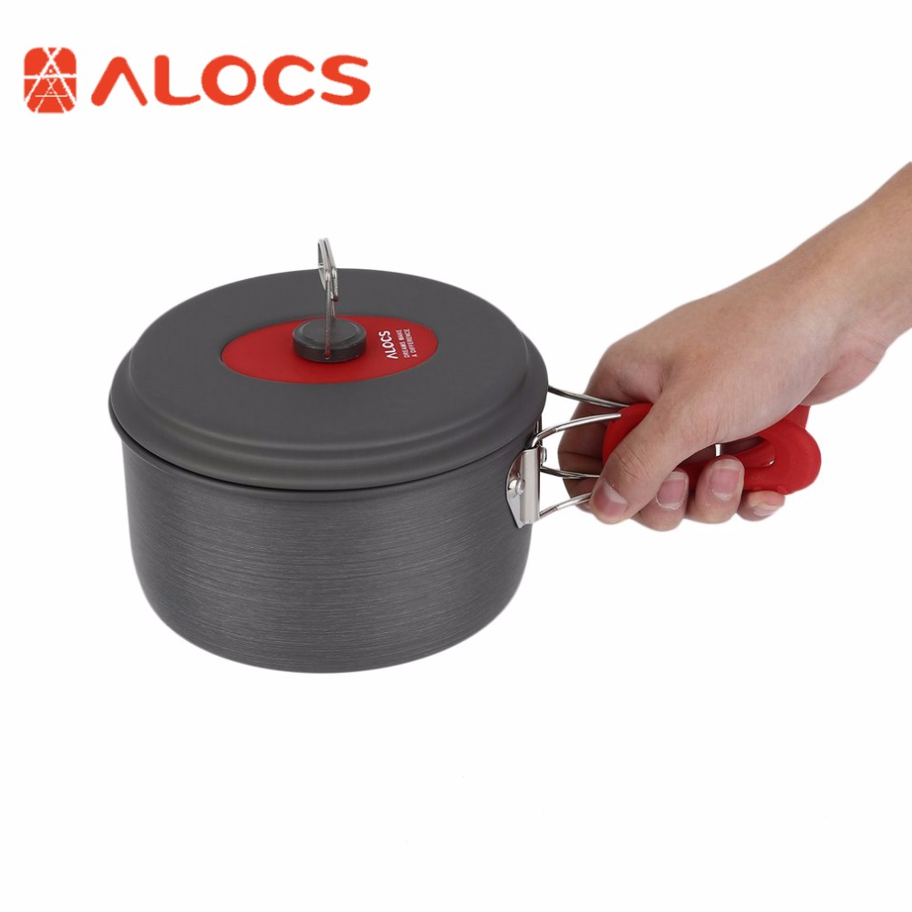 ALOCS 7pcs/set Portable Ultralight Aluminum Outdoor Camping Hiking Cookware Cooking Picnic Pan Pot Teapot Dishcloth 4 People цены онлайн