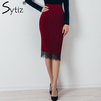 Sytiz Wine Suede Embroidery Skirt Bodycon Elegant 2017 Fashion Trend Knee Length Empire Solid Pencil Women