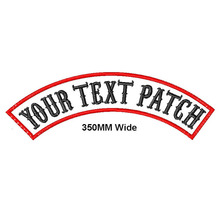 Custom 1 piece 350mm wide top or bottom Rocker Bike Patch embroidered name patches motorcycle iron on patches for Jackets back