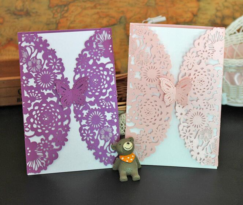 DIY Бабочка Цветной лазерная резка Кружево эффект Свадебное приглашение pack/10