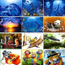 5D DIY diamond inlaid embroidery childrens painting full round square animal dolphin mosaic decoration