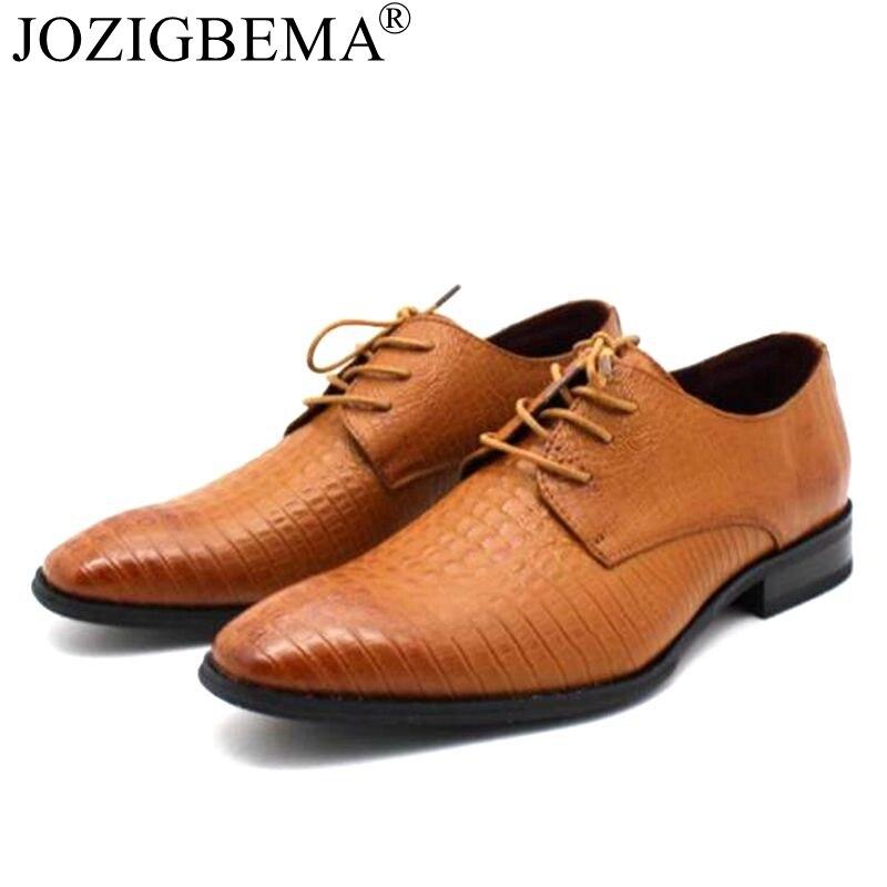 74fce0c972f Detail Feedback Questions about JOZIGBEMA New Fashion Casual Mens Dress  Shoes Genuine Leather Crocodile Lace up Italian Stylist Flat Formal Oxfords  Wedding ...