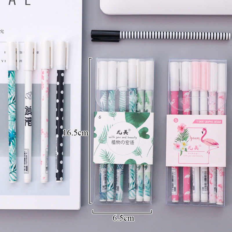 Flamingo 3pcs/Lot Gel Pen 0.5mm Plants Cherry Pens For School Writing Kawaii Neutral Pens Office Supplies Creative Stationery