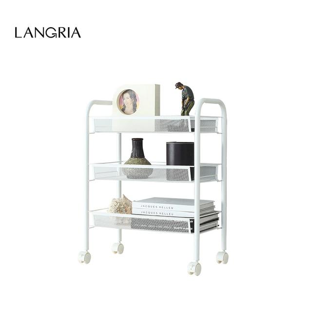 2016 New Langria 3 Tier Metal Mesh Rolling Cart Bathroom Shelves For  Kitchen Pantry Office