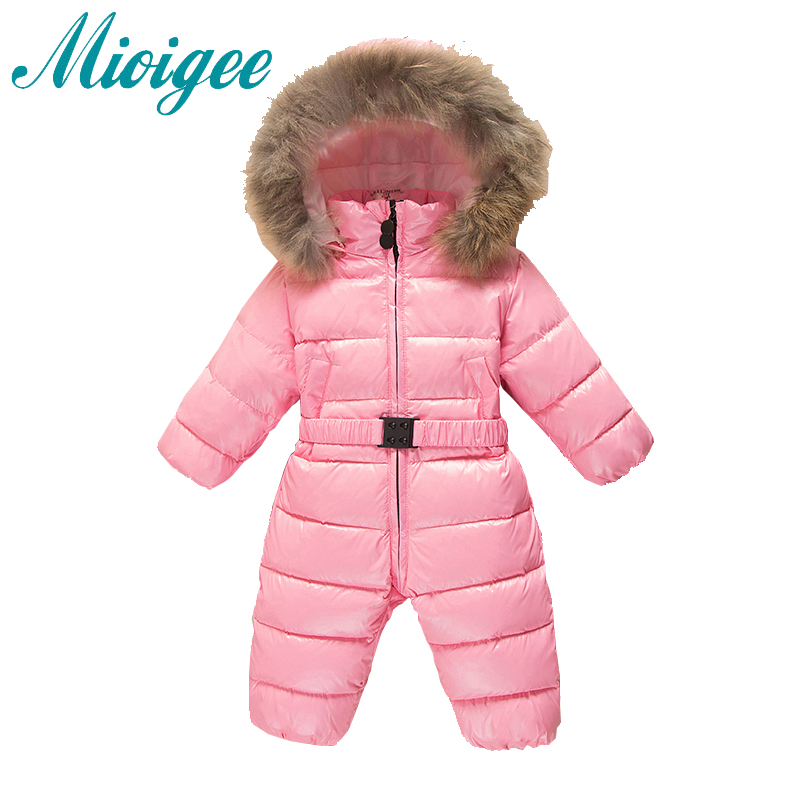 Mioigee 2017 Down Baby Rompers Winter Thick Boys Costume Girls Warm Infant Snowsuit Kid Jumpsuit Children Solid Outerwear mioigee 2017 new down baby rompers winter outdoor boy costume girls warm infant snowsuit kid jumpsuit children romper clothing