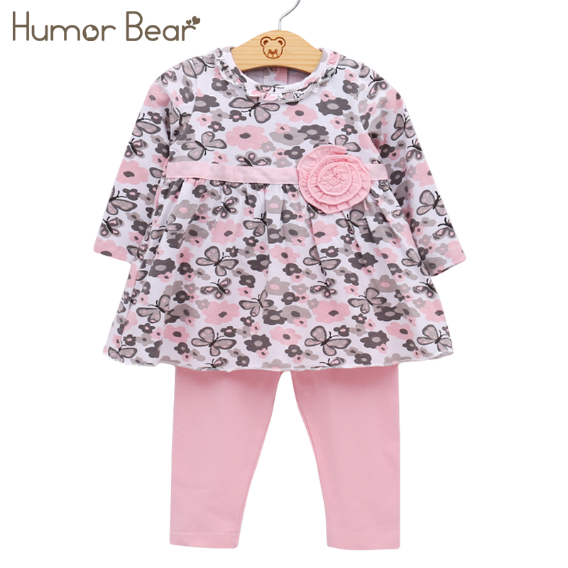 Humor Bear Baby Girl Clothes Set Newborn Toddler Cotton Suit Kids Girl Outfits Spring Tracksuit Infant Clothing Set