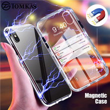 TOMKAS Magnetic Case For Samsung Galaxy S9 S8 Plus Note 8 Cover Phone Case For iPhone X 8 7 10 6 6 s Plus XS Metal Glass Luxury(China)