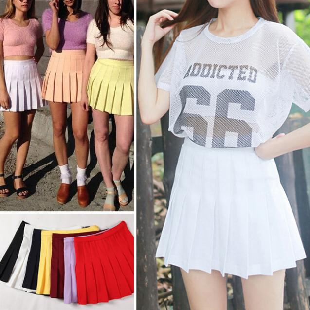 b78a6799ce 2014 American Apparel Street Fashion Lady High Waist Ball Tennis Pleated  Skirt XS-L White Black Red Pink Yellow