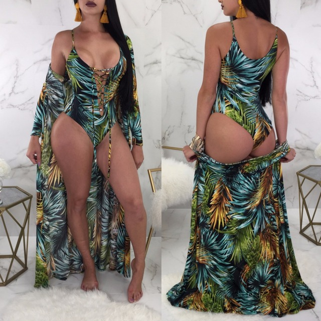 d4b1e8679eb3 IASKY 2018 New One Piece Swimsuit with Beach Cover-Ups sexy women Green  Leave Print Swimwear Bathing Suit 2PCS SET