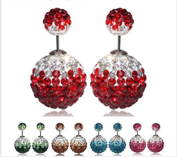 أحدث زهرة مزدوجة الكرة عيد الميلاد أقراط للنساء الفاخرة كريستال أقراط النساء أقراط بريمة أنيقة أقراط