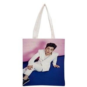 Новое поступление на заказ KPOP Henry Lau печатная Холщовая Сумка-тоут женская сумка пляжная Дорожная сумка Портативная сумка для покупок