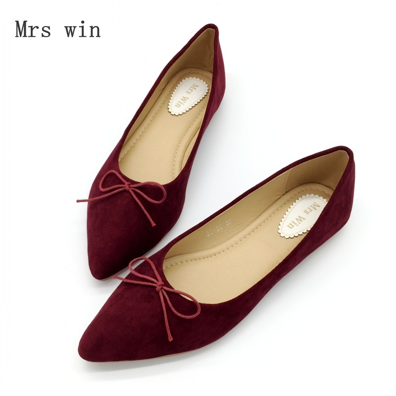 2018 New Spring Autumn Shoes Women Ballet Flats Shoes Slip-On Woman Single Shoes Ladies Females Work Footwear Zapatos Mujer Red red spring autumn women s low heel pumps flock plain pointed toe shallow slip on ladies casual single shoes zapatos mujer black