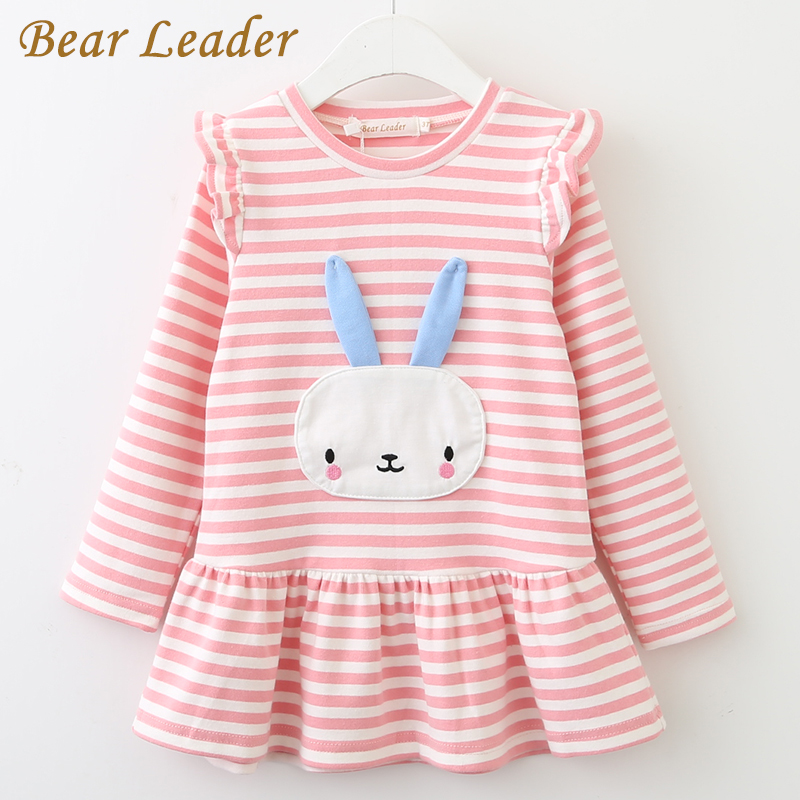 Bear Leader Girls Dress 2018 New Spring Brand Girls Clothes Long Sleeve Bunny Rabbit Lace Strip Design Girls Children Clothing