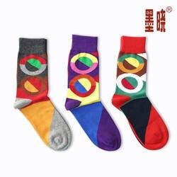 Корейский Для Мужчин's Носки для девочек британский стиль круг длинные хлопковые Носки для девочек Calcetines Стиль заклинание Цвет Носки для