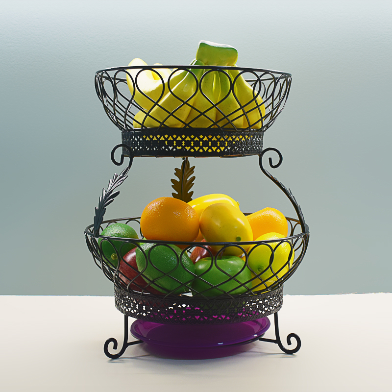 2 Tier Countertop Fruit Basket Holder & Decorative Bowl Stand Perfect for Fruit, Vegetables, Snacks