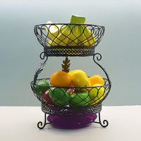 2 Tier Countertop Fruit Basket Holder & Decorative Bowl Stand Perfect for Fruit, Vegetables, Snacks