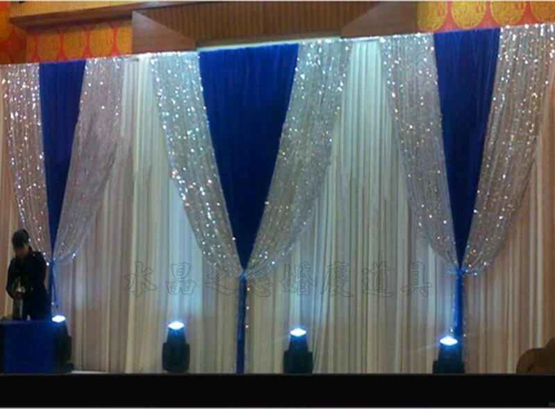 3m 6m Pure White Wedding Stage Background Silk Drape