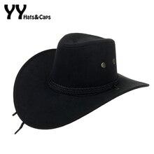 Мужские ковбойские шляпы в Западном и американском стиле с широкими полями, шляпа от солнца для путешествий, ковбойская шляпа из искусственной замши с тройной шнуровкой, Chapeau Homme, ковбойская шляпа YY18015