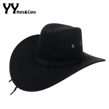 מערבי אמריקאי Mens קאובוי רחב שוליים נסיעות שמש כובע קאובוי Cowgirl פו זמש מחרוזות משולשת Chapeau Homme קאובוי YY18015