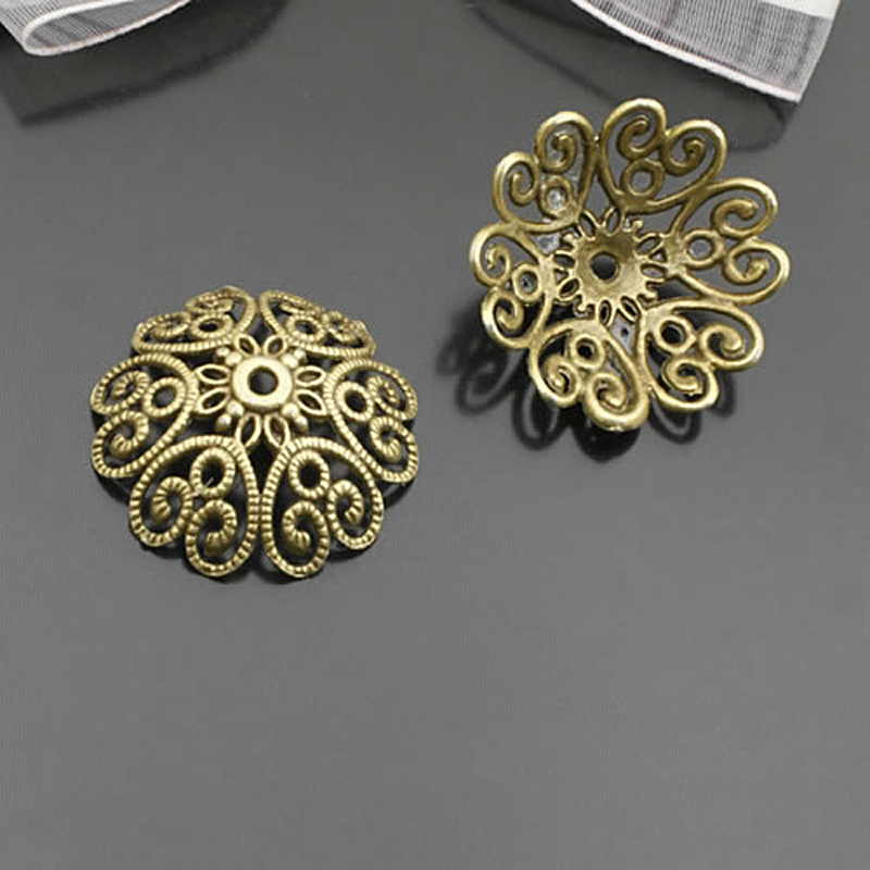 Beads Caps Jewelry-Findings-Accessories Antique Bronze 27x10mm 27077 Zinc-Alloy Zinc-Alloy