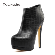 Women's Black High Heel Ankle Boots Sexy Ladies Round toe Platform Booties with Fur 2018 Winter Shoes Large Size Wholesale все цены