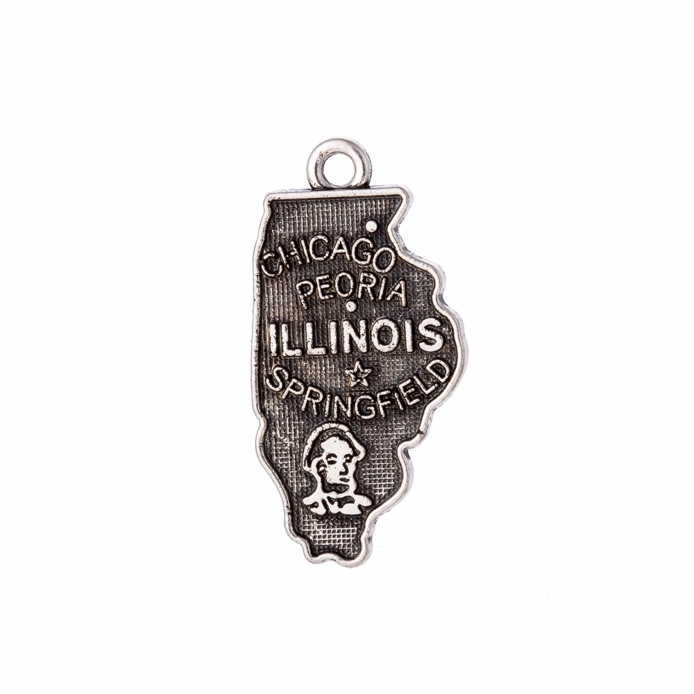 my shape 60Pcs Vintage Illinois zinc alloy State Map Charm Travelling Pendant For Jewelry Making 13.5*26mm