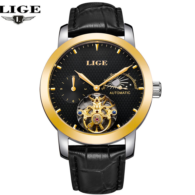 2017 new men's watch LIGE top brand luxury moon phase leather automatic watch men's business clock relogio masculino saimi skdh145 12 145a 1200v brand new original three phase controlled rectifier bridge module