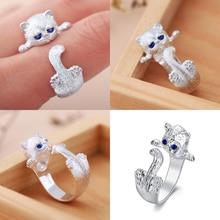 Vanmos Silver Finger Cat Rings for Women Adjustable Animal Ring Fashion Pet Blue Eyes Wedding Bride Jewelry