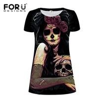 FORUDESIGNS T Shirt Dress Women Summer Casual Sexy Skull Print Short Sleeves Party Beach Vintage Day