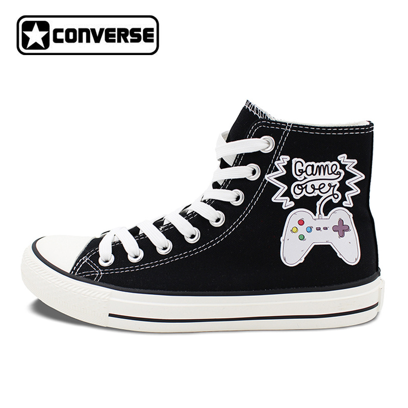 Black High Top Converse Shoes Game Handle Men Women Unique Canvas Sneakers Christmas Birthday Gifts