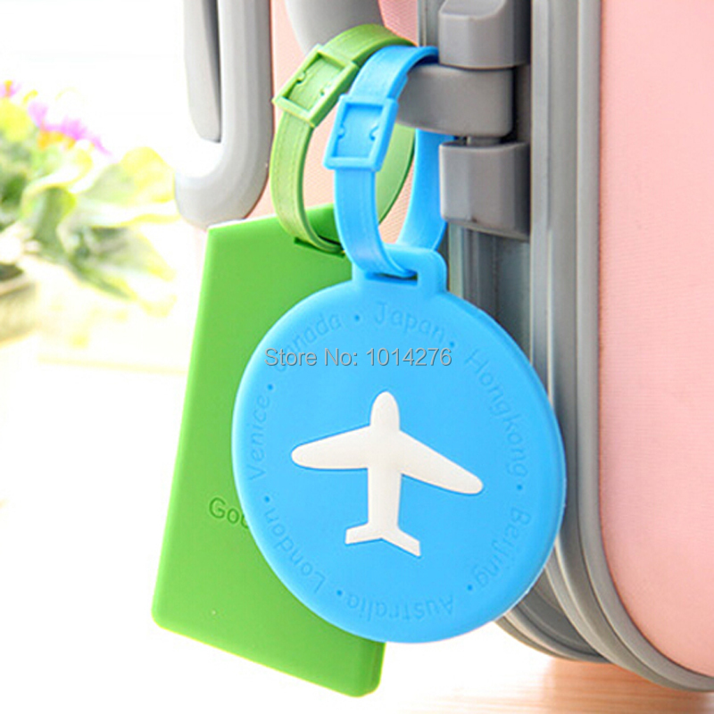 1pcs Candy Colored Rectangle Round Aircraft Silicone Travel Luggage Tag Baggage Tags for Bag Suitcase Name Card Storage Holder