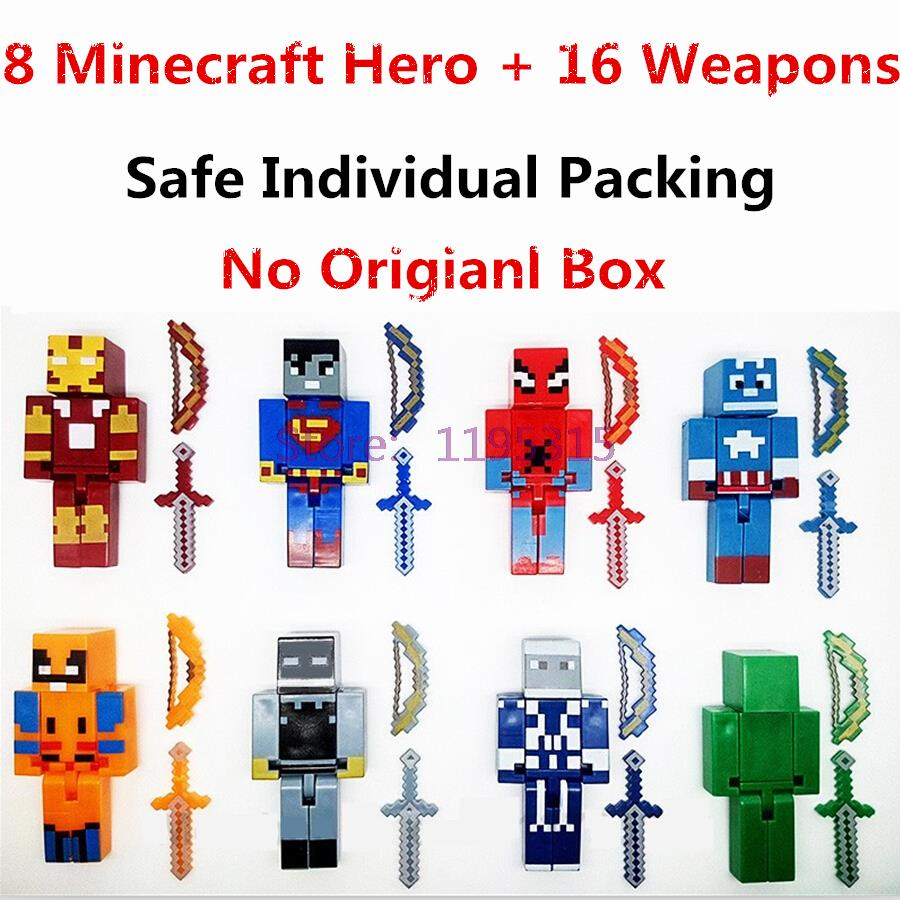 8PCS/lot Minecraft Game Brinquedo Toys Marvel Avengers Super Hero Justice League Building Blocks Action Toys Kids Gift #EB dayan gem vi cube speed puzzle magic cubes educational game toys gift for children kids grownups