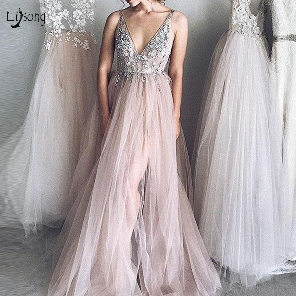 Sexy Illusion Blush Pink Long   Prom     Dresses   High Side Split Crystal Beaded 3D Flower Evening Gowns Pretty Vestidos Longo 2019