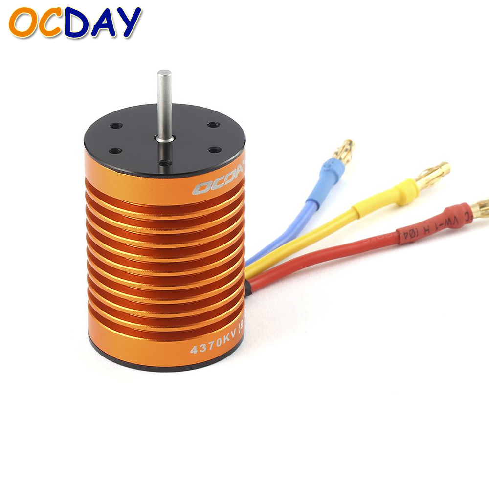 1pcs OCDAY 9T/10T 4370KV / 3930KV 4 Poles Sensorless Brushless Motor for 1/10 RC Car Truck Boat