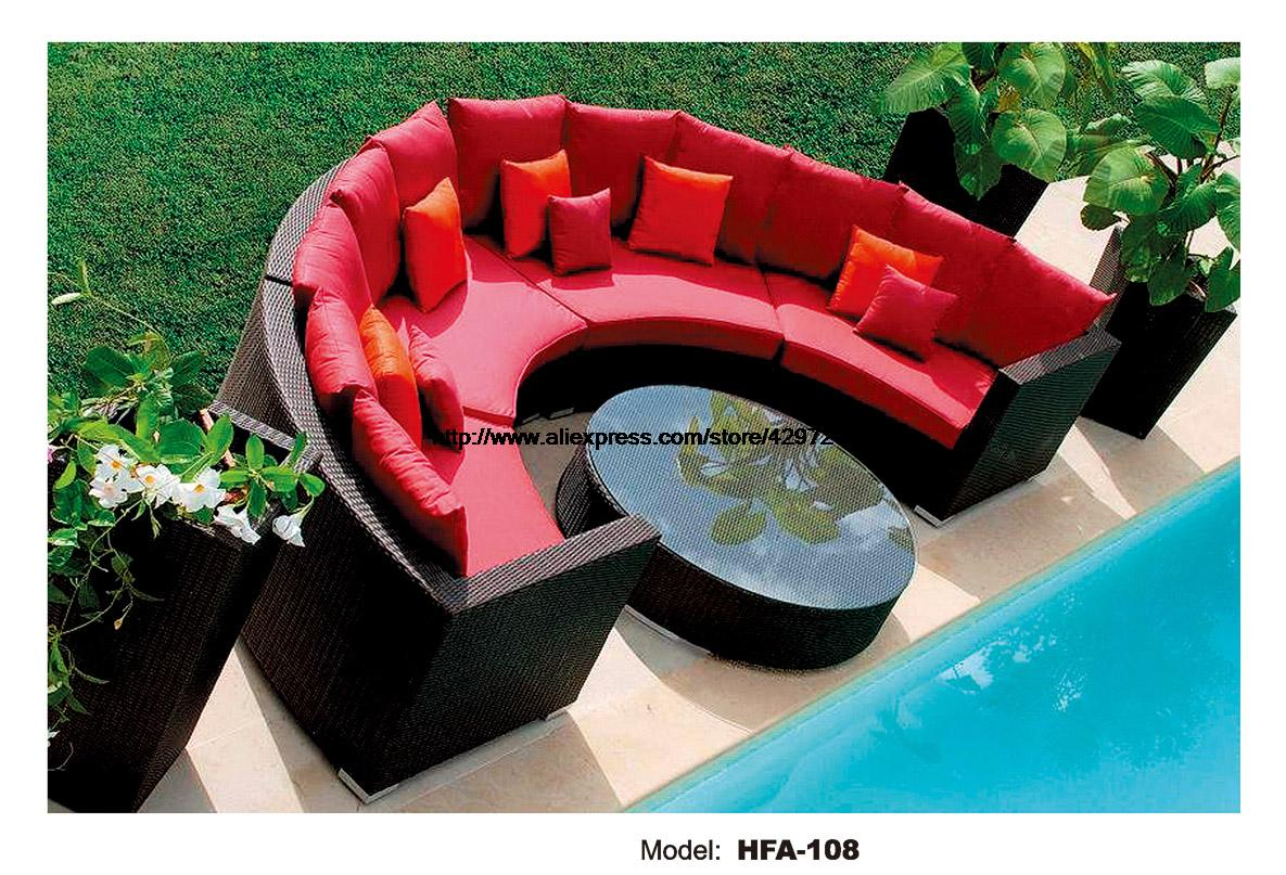 Half Round Wicker Sofa Set Garden Sofa with Coffee Table Health PE Ratten Furniture Patio Outdoor Sofa Set HFA108 circular arc sofa half round furniture healthy pe rattan garden furniture sofa set luxury garden outdoor furniture sofas hfa086